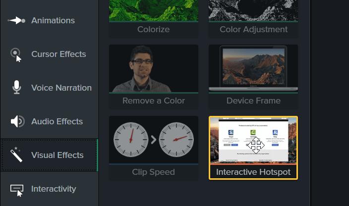 Interactive hotspot visual effect