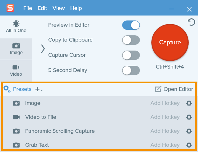Snagit capture window with an orange box around the previously saved presets