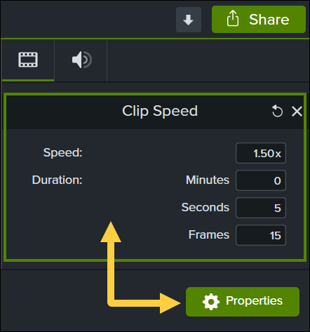 Clip speed properties including speed and duration
