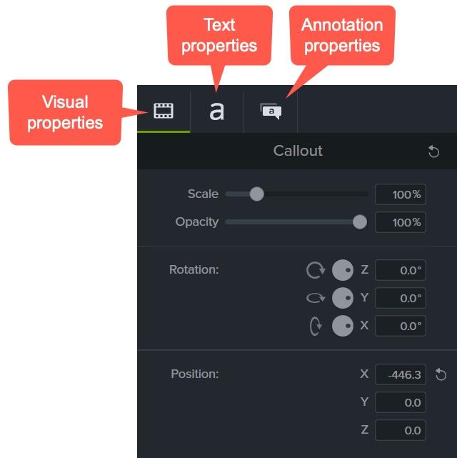 visual properties tab, text properties tab, and annotation properties tab