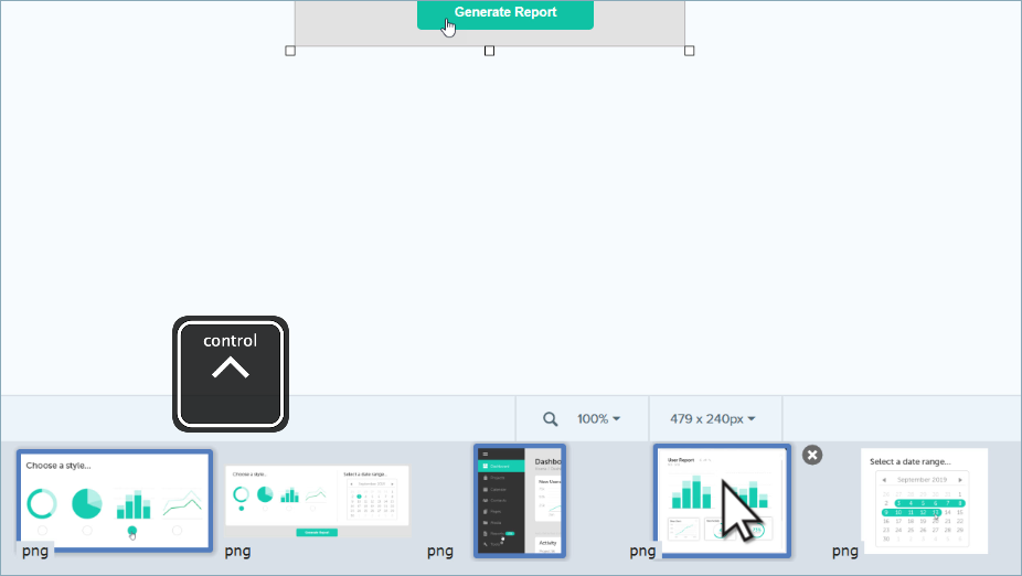 The Snagit recent captures tray with the control button to select multiple captures