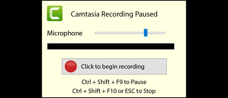 Camtasia Recording Paused screen