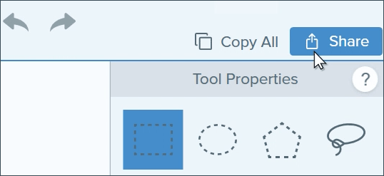 The share menu in the snagit editor