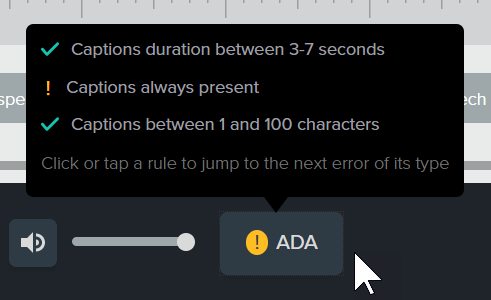 Auto-generated captions that give requirements for ADA compliance
