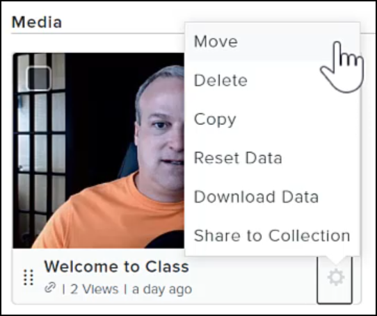 Professor moving his 'Welcome to Class' video into a different folder