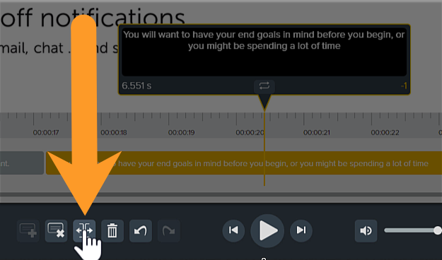 The caption window with the button selected to split the captions