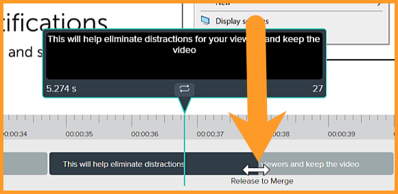 Caption editing window with an arrow pointing in between two captions to merge them