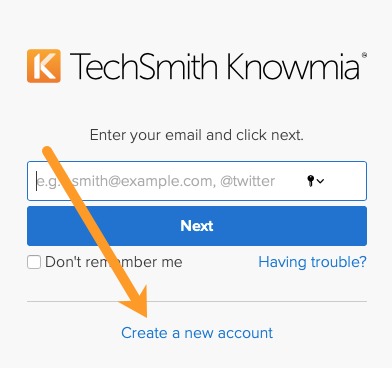 TechSmith Knowmia login screen with an arrow pointing to the option to create a new account