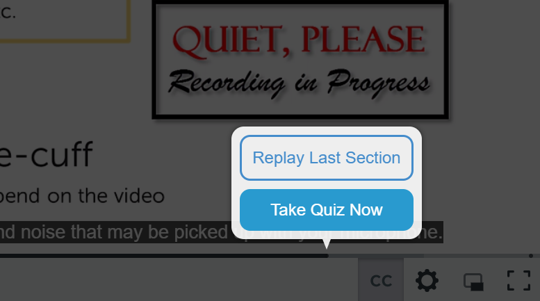 In-video quizzing allows the option to Replay the Last Section or Take the Quiz Now