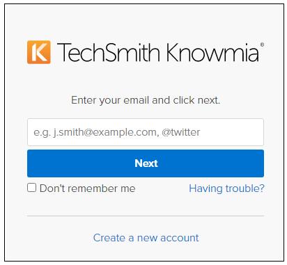 TechSmith Knowmia login screen