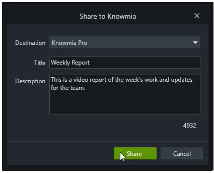Share to Knowmia dialog window