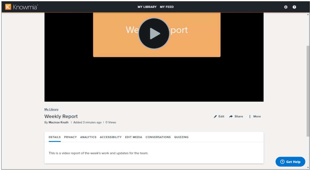 Video watch page in Knomwia