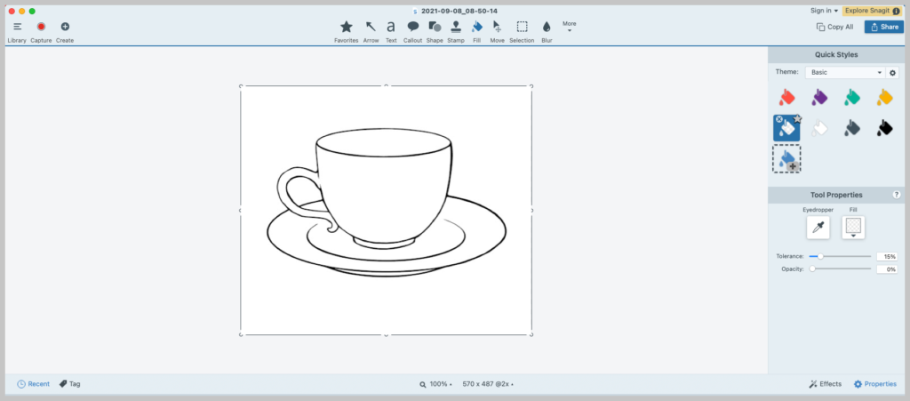 An image of the Snagit editor featuring a black and white teacup.