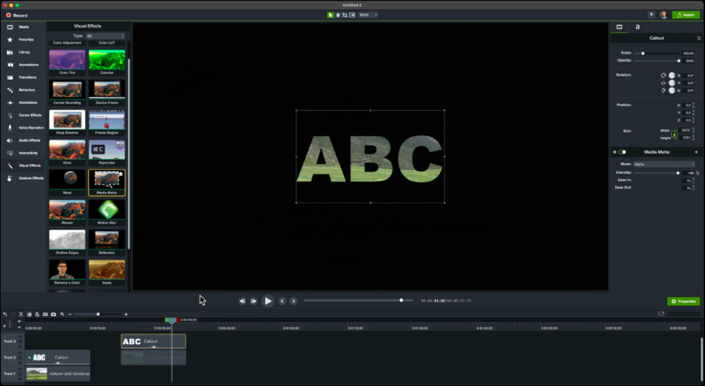 Example of Media Map on Camtasia