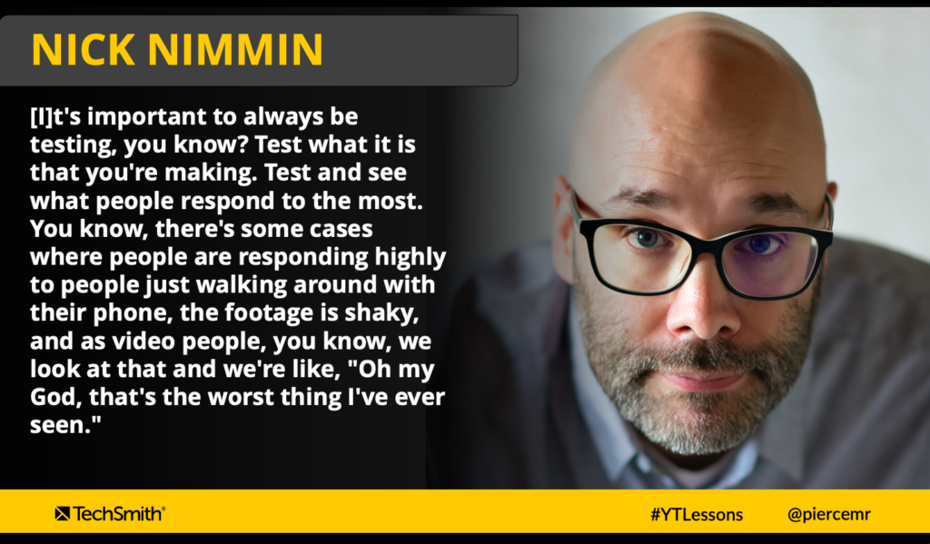 Quote from Nick Nimmin re advocating trying new things