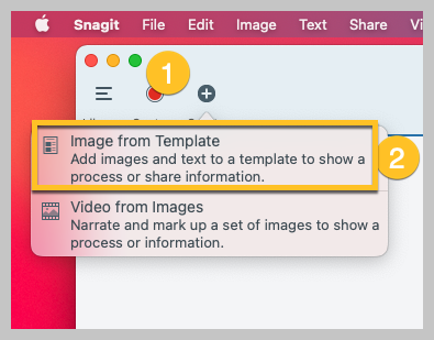 An image showing steps in a process, like creating an image from a template.