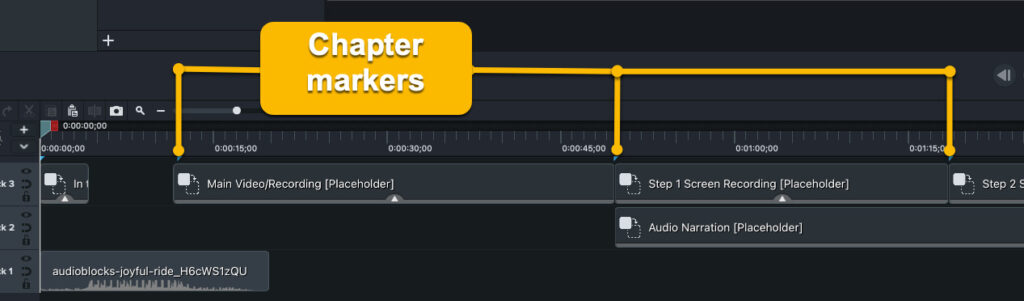 Camtasia interface showing chapter markers on the timeline.