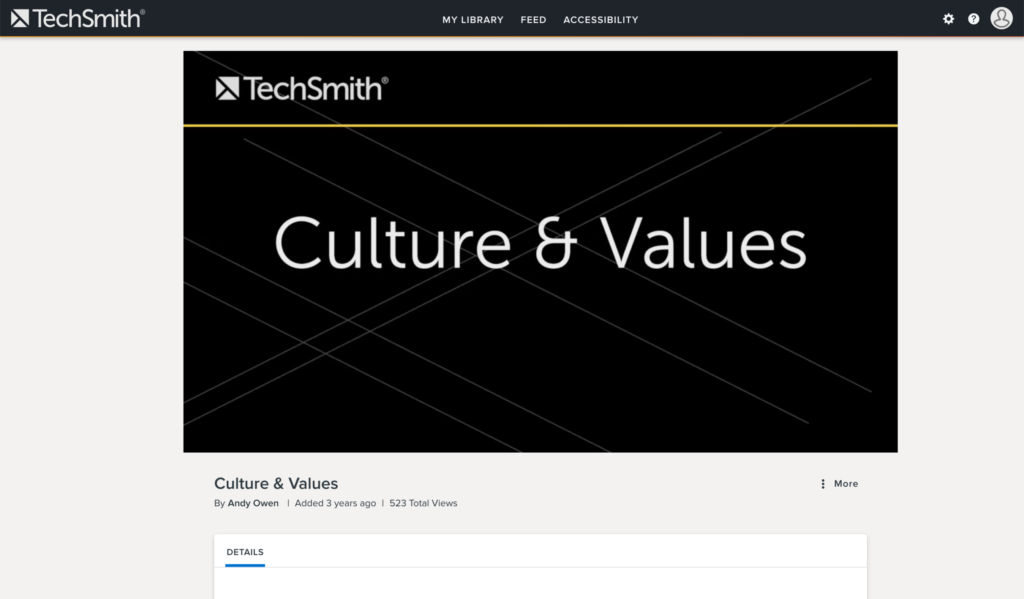 Screenshot of an example employee onboarding video focused on company culture and values.