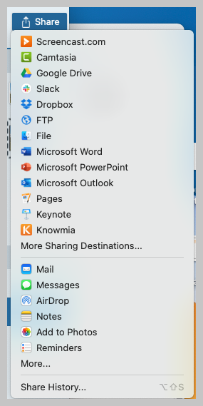Snagit sharing and exporting options.