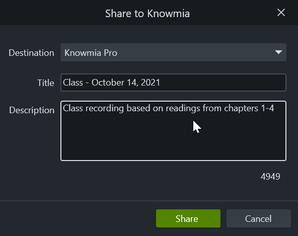 Share to Knowmia dialog