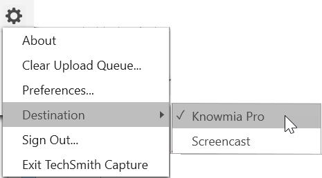 Destination option in context menu