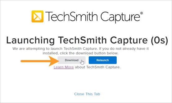 Launching TechSmith Capture website