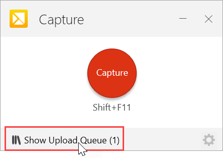 Show Upload Queue button in TechSmith Capture